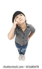 A Little girl in casual clothes looking up and thinking  isolated on white with Clipping path.