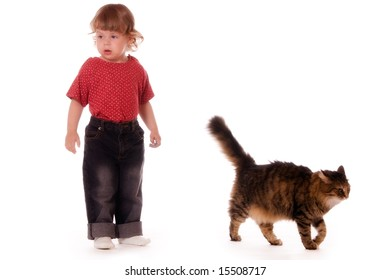 Little girl and cat isolated on white background