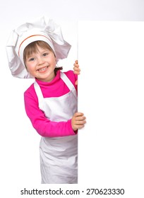 Little girl chef isolated on white background