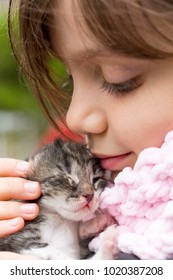 Little girl in child's hands baby cat; love, compassion, mercy.
