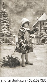 Little girl with christmas tree, gifts and vintage toys. Old postcard with original film grain and scratches