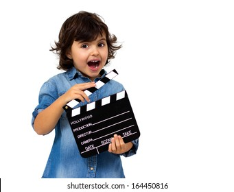 little girl with a clapperboard isolated on white