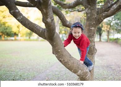 Little Girl to climb a tree