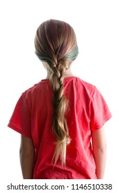 Little girl with colorful dyed red highlights in her blond hair done in a braid or plait viewed from behind isolated on white