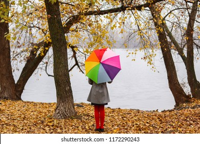 Little girl with colorful rainbow umbrella staying in autumn park on yellow leaves looking at river at cloudy gloomy fall day. Lonliness and autumn melancholy.