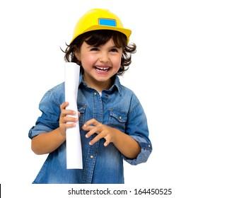 little girl in the construction helmet isolated on white