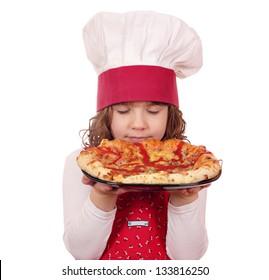 little girl cook smells pizza