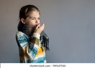 little girl coughs, cold and  flu