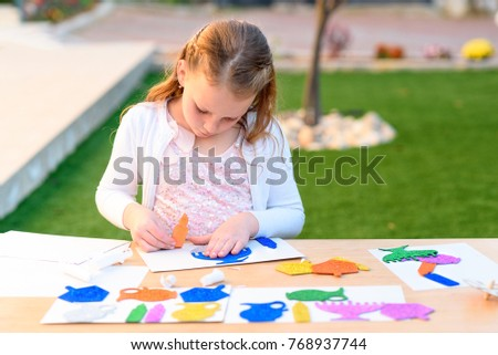 Little girl create greeting card image stock photo edit now little girl create a greeting card image of the jewish holiday of hanukkah kid pastes m4hsunfo