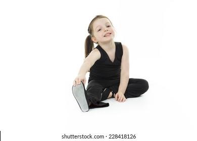 Little girl dance white background