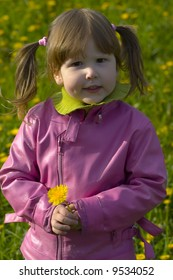 Little girl with dandelion and tails is standing on the field full of dandelions