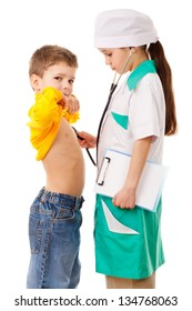 Little girl in doctor costume do listening a boy's lungs, playing with stethoscope, isolated on white
