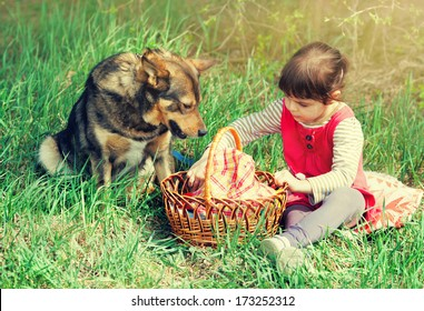 Little girl with dog on a picnic