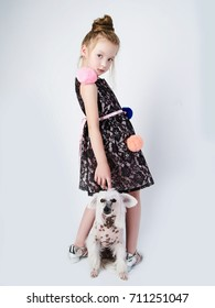 little girl with doggy.child with puppy friend
