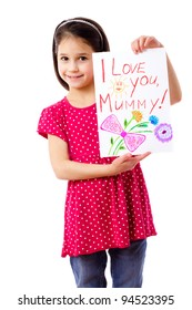 Little girl with drawing for mum, isolated on white