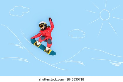 The little girl dreaming about winter season and snowboarding. Childhood and dream concept. Conceptual image with girl who conquers slopes on a snowboard. Dreams about sports. - Shutterstock ID 1845330718