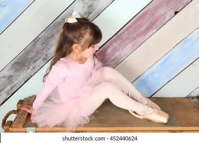 Little girl dreaming of being a ballerina