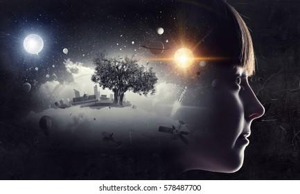 Little girl dreaming . Mixed media