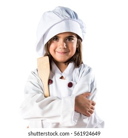 Little girl dressed like a chef