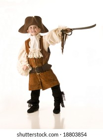 Little girl dressed as pirate for Halloween