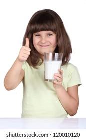 Little girl drinking milk, milk is good