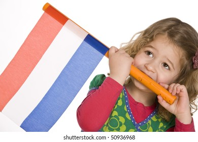 Little girl with Dutch national three-colour red-white-blue flag
