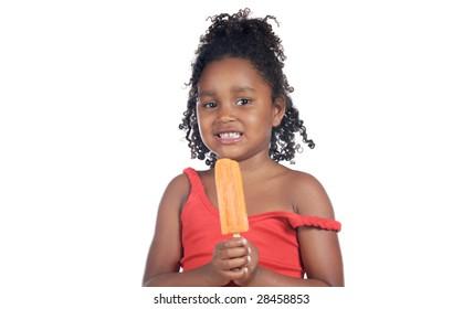 Little girl eating ice cream orange a over white background