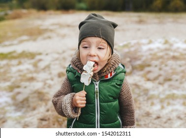 Little girl eating roasted marshmallow by a self-made campfire. Active natural lifestyle, fun family time concept.
