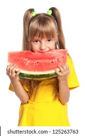 Little girl eating slice of watermelon isolated on white background
