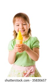 Little girl eating tasty Ice-cream isolated on white
