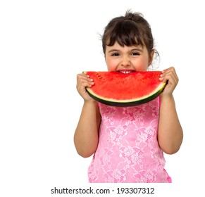 Little girl eating watermelon isolated on white