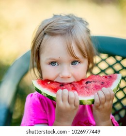 Little girl eating watermelon in summer garden