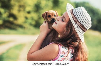 Little girl embracing a dog. Pets and animals concept