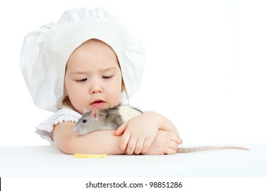 Little girl embracing domestic rat  on white background