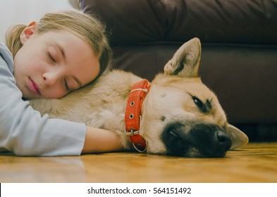 Little girl embracing her dog and sleep on the floor. Pet and child love. Friendship and trust.