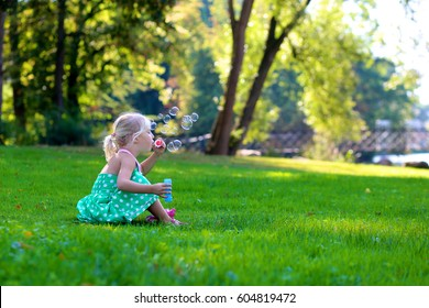 Little girl enjoying nature on a sunny summer day. Cute child blows soap bubbles in the park sitting on the grass. Happy childhood concept.