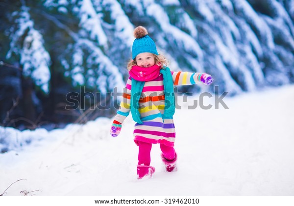 Christmas Vacation Sled.Little Girl Enjoying Sleigh Ride Child Stock Photo Edit Now