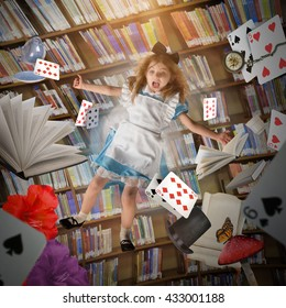 A little girl is falling down with game cards, time clocks and story books with a library behind her for an creative imagination concept