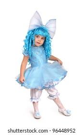 little girl in  fancy dress. On  white background
