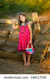 Little girl in fashion dress and bag front of an old wooden fence