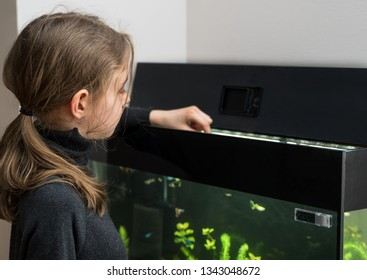 Little girl feeding fishes in the aquarium.