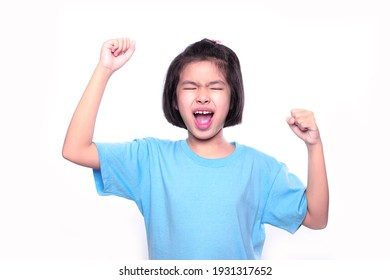 little girl feels excited on white background.