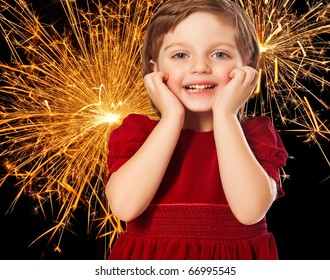 little girl and fireworks - christmas and New Year