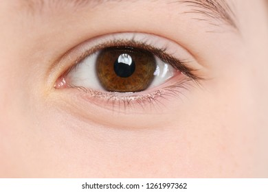 Little girl, focus on eye. Visiting children's doctor and ophthalmologist