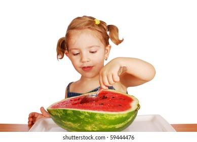 little girl with fresh watermelon