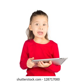Little Girl with Funny Face Expression holding Tablet Computer, isolated on White