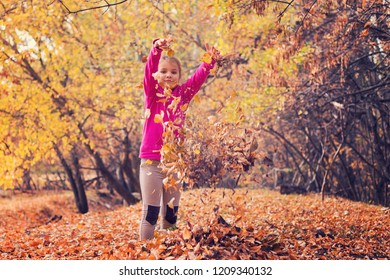 Little girl gathering leaves in the forest