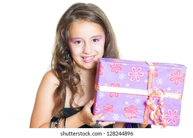 Little Girl and gift isolated on white