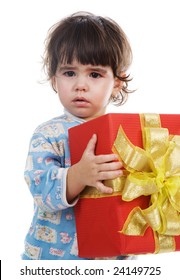 The little girl with a gift on a white background
