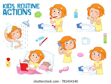 Little girl with ginger hair and daily routine - Lovely set of six illustrations on the white background - good morning and good  night